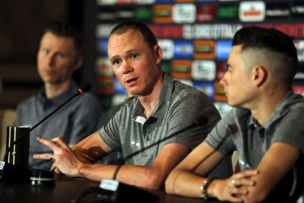 Cycling - 101st Giro d'Italia - Pre-race news conference, Jerusalem – May 2, 2018 - Team Sky rider Chris Froome of Britain during a news conference. REUTERS/Ammar Awad